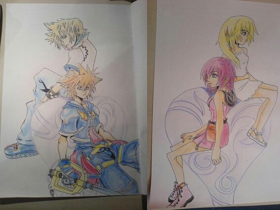 Kingdom Hearts Sora , Roxas , Kairi und Naminè